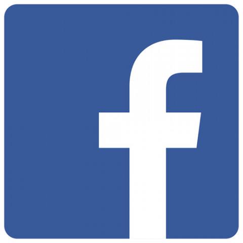 Logo facebook; blauwe achtergrond, witte letter 'F'